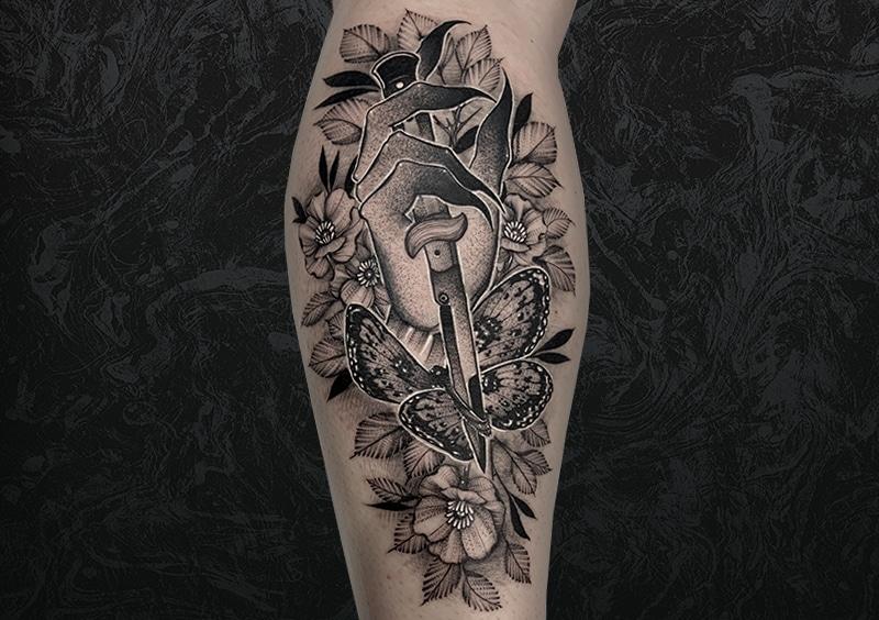 Knife Butterfly Flower Tattoo