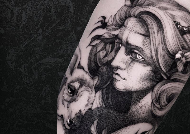 Woman Deer Tattoo