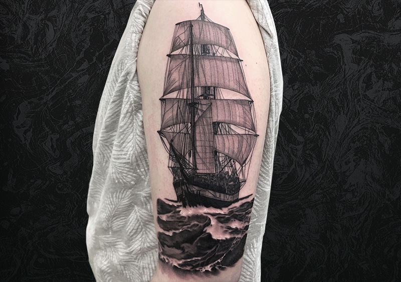 Pirate Ship Arm Tattoo