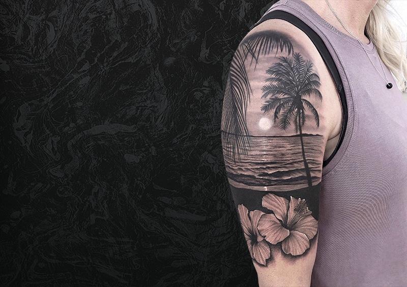 Beach Arm Tattoo