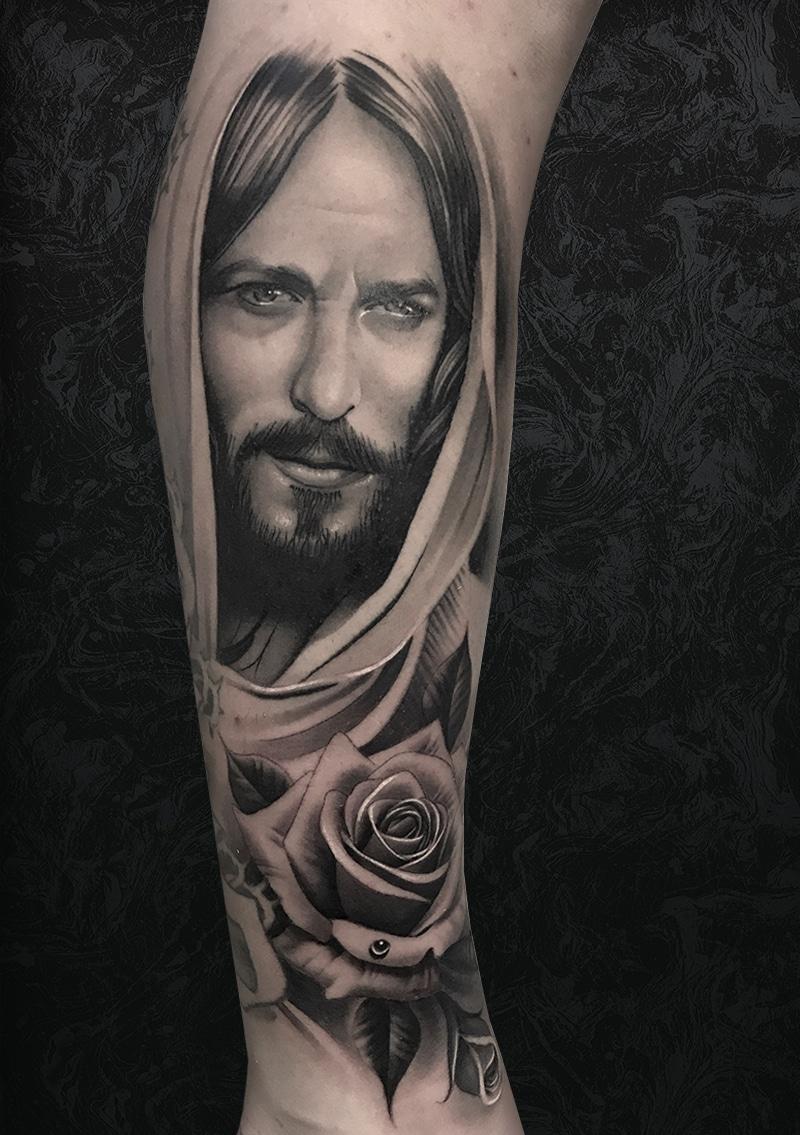 Jesus Christ Arm Tattoo