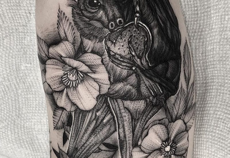 Bat Flower Tattoo