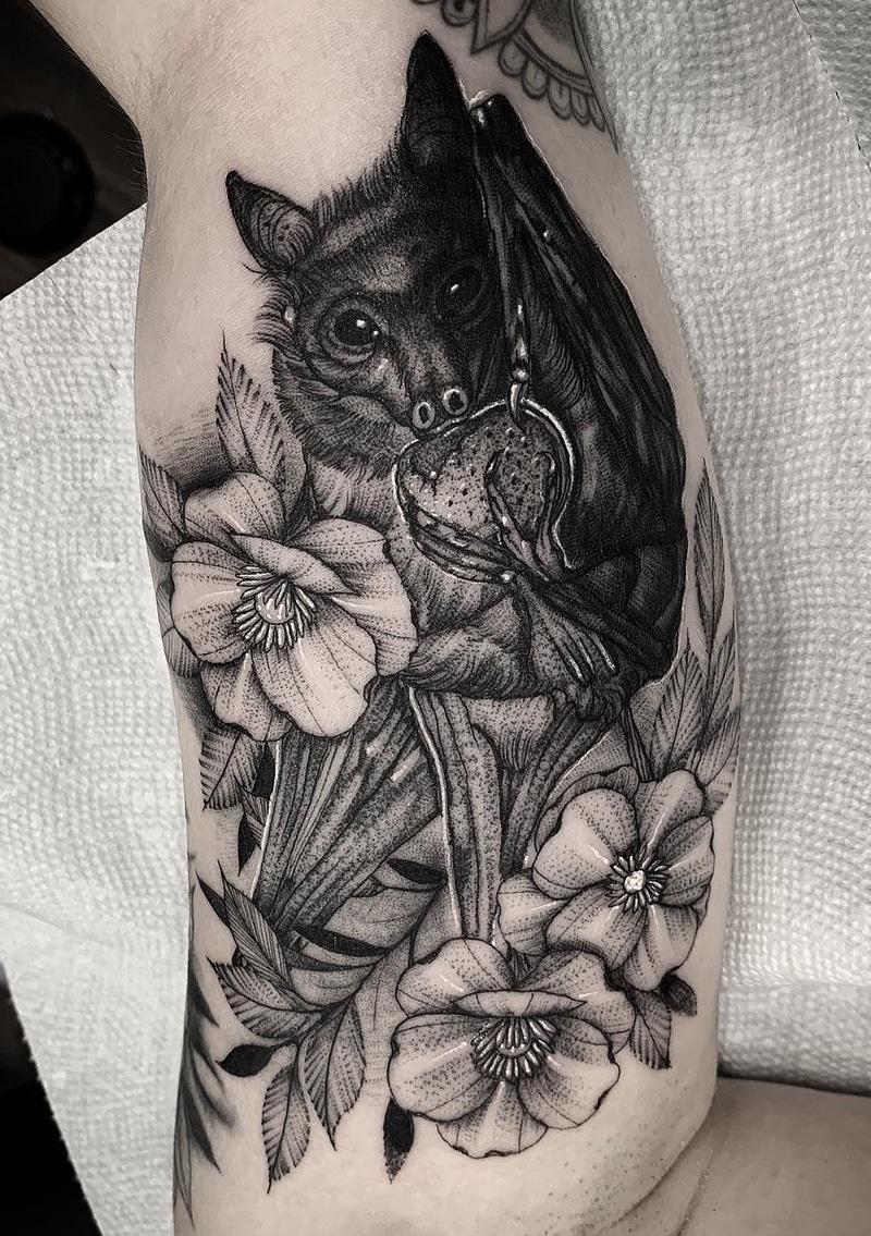 Bat Flower Tattoo
