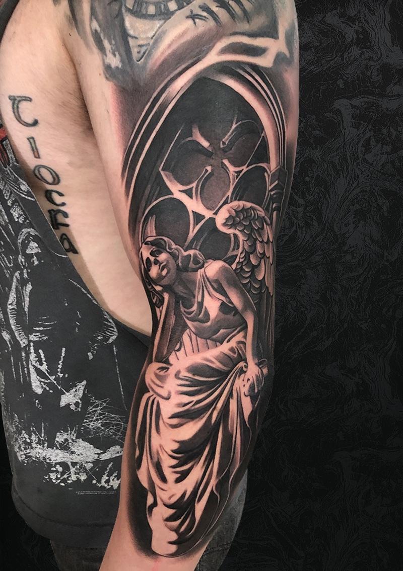 Angel Church Arm Tattoo