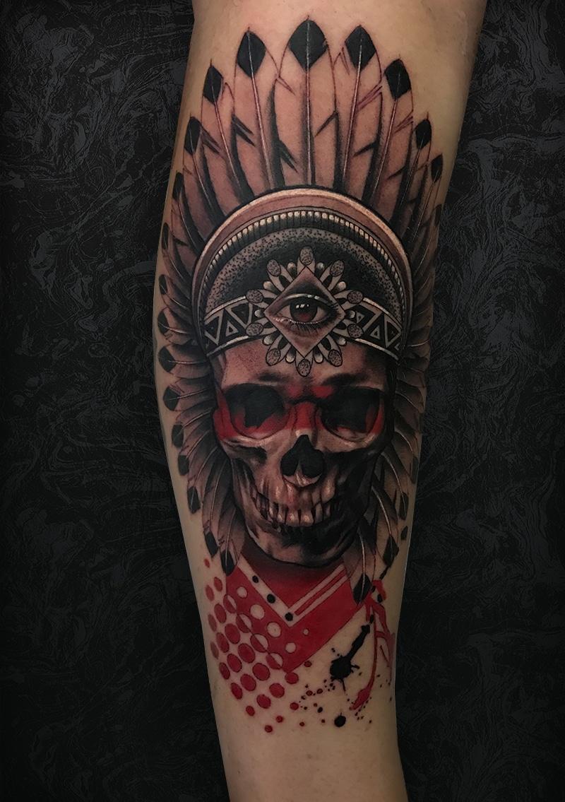 Indian Red Skull Tattoo