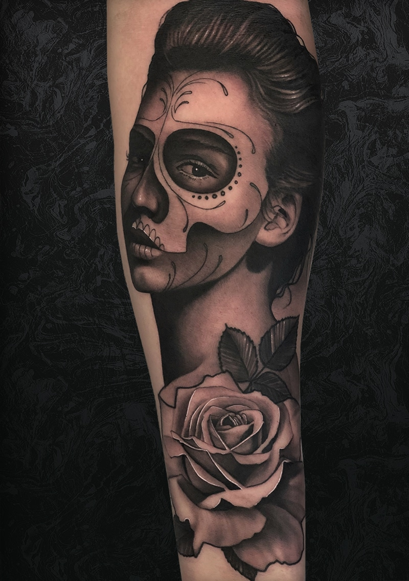 Woman Skull Painting Arm Tattoo