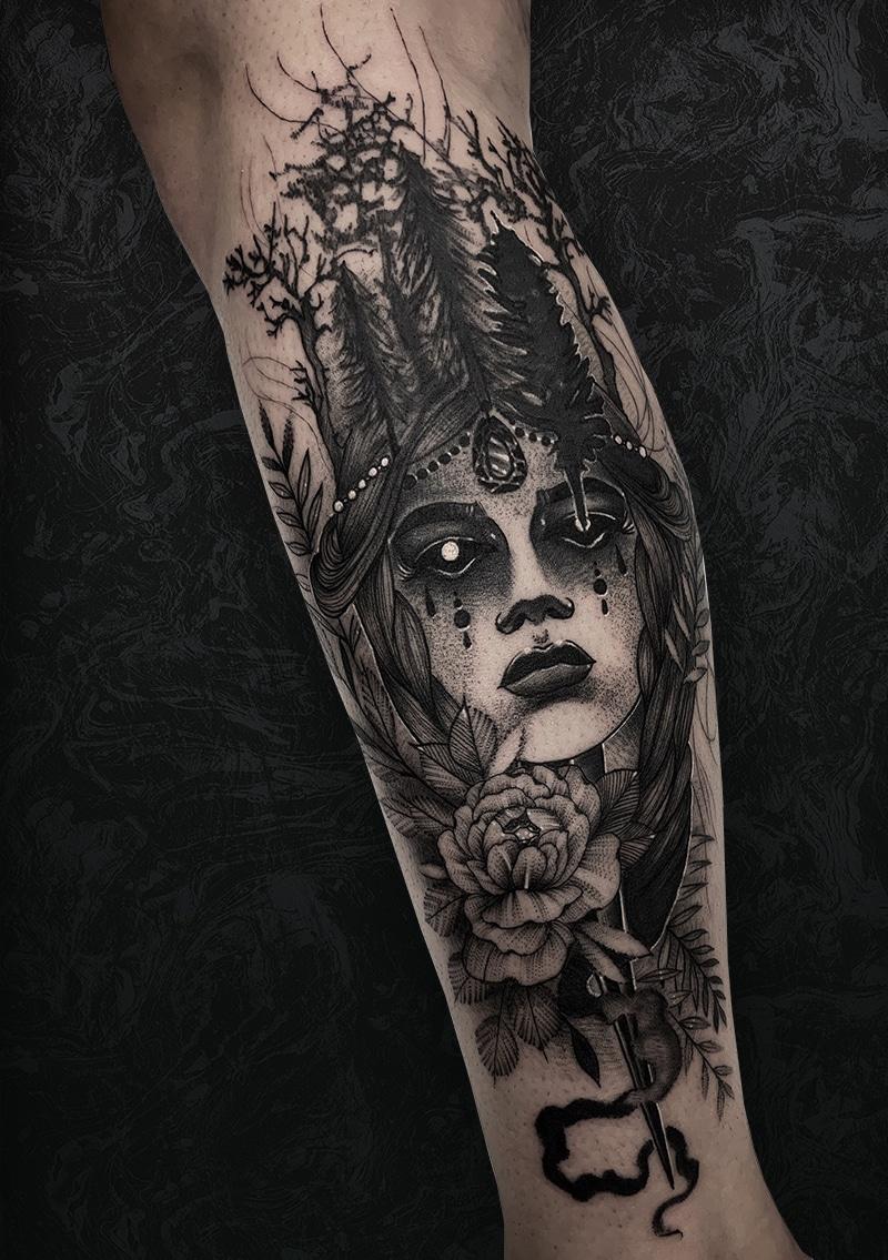 Woman Flower Tattoo