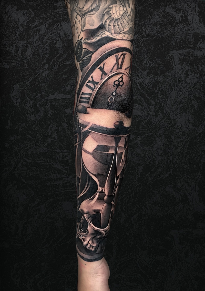 Time Clock Arm Tattoo