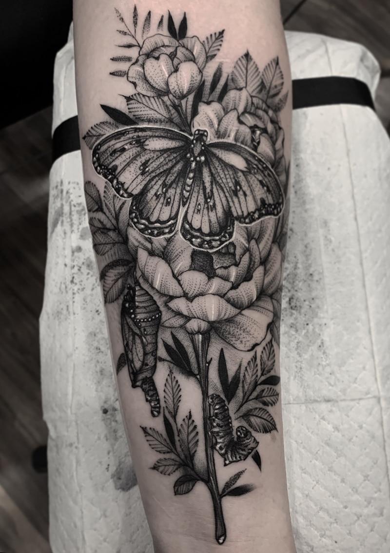 Butterfly Flowers Tattoo